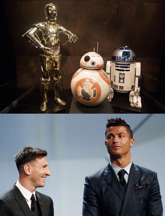 Лионель Месси в роли R2-D2, Криштиану Роналду в роли C-3PO. Или наоборот