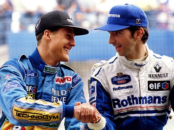 Борьба Шумахера и Хилла внезапно дотянулась до финиша сезона