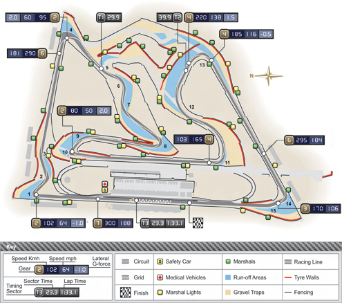 Схема трассы в Бахрейне.