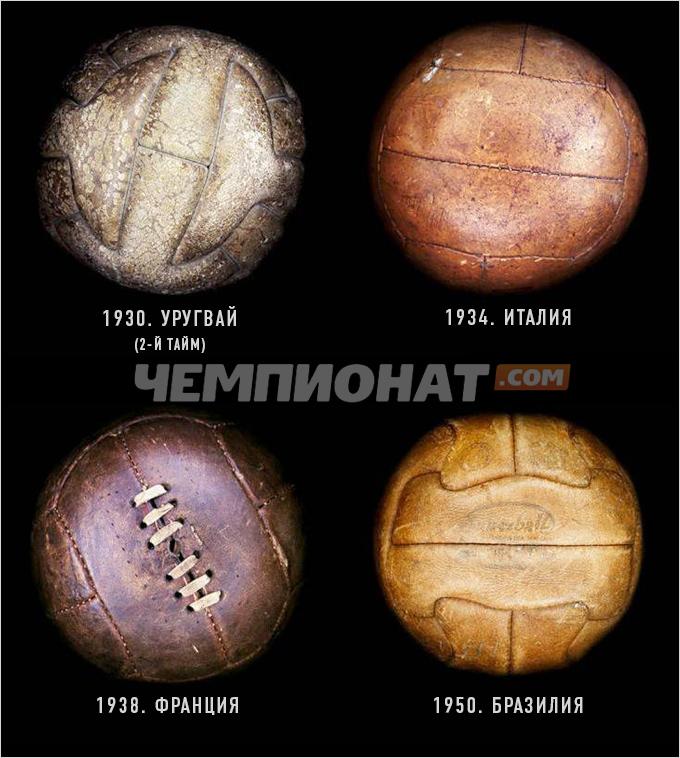 Мячи чемпионатов мира 1930. 1934, 1938, 1950