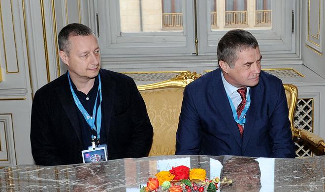 Руководитель «КХЛ-Маркетинг» Илья Кочеврин и президент КХЛ Александр Медведев
