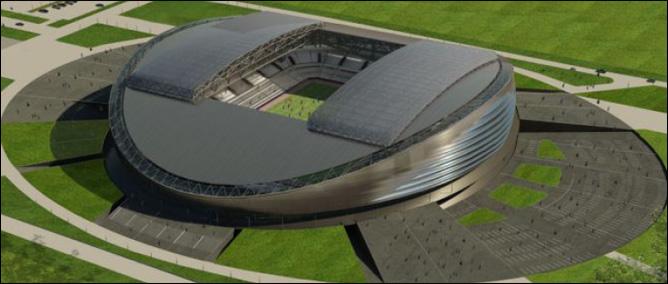 Стадион в Астане, столице Казахстана, вмещающий 30 000 зрителей.  Одно из шести подобных сооружений в мире...