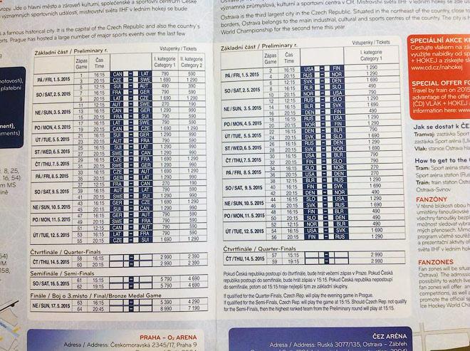Цены на билеты на матчи чемпионата мира по хоккею