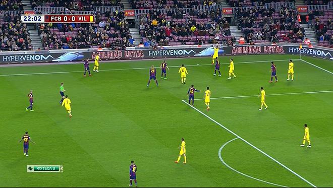 Семь футболистов«Барселоны» оказываются у чужой штрафной, перекрывая все варианты для спокойного ввода мяча «Вильярреалом» в игру