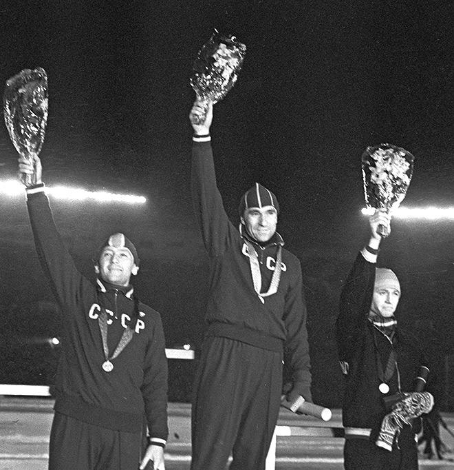 Заслуженные мастера спорта Евгений Романович Гришин (1-е место), Борис Андрианович Стенин (2-е место) и Хенк Ван дер Грифт (Нидерланды)