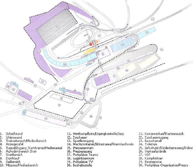 Схема стадиона с перепадами