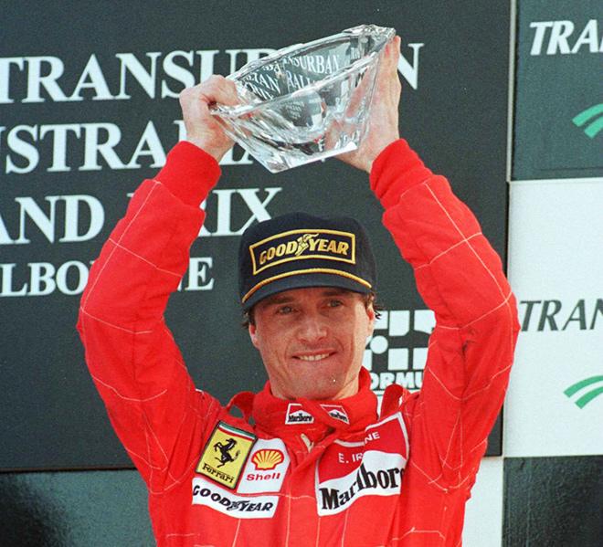 Эдди Ирвайн на подиуме Гран-при Австралии – 1996