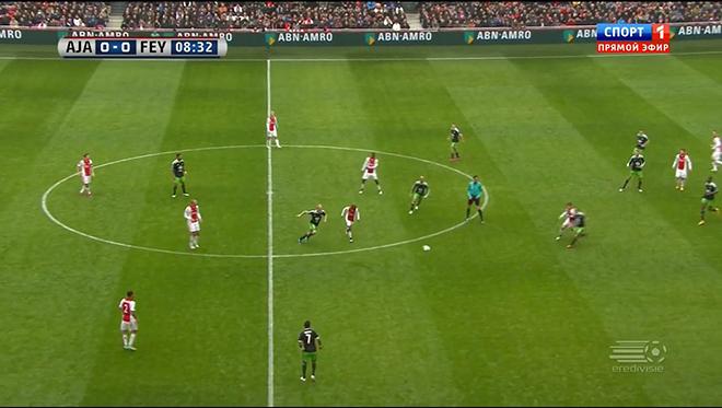 Игроки «Аякса» отправляют мяч Лукасу Андерсену, которого моментально прессингует Йорди Класи и отбирает мяч