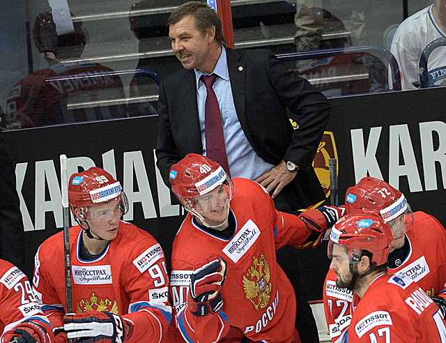 Олег Знарок со сборной России на Кубке Карьяла
