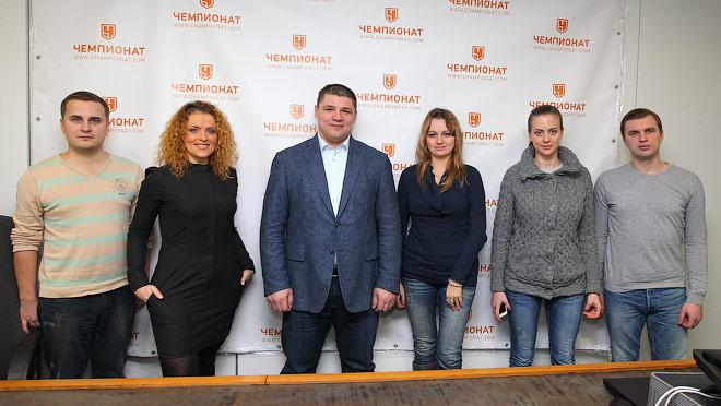 Андрей Коваленко и журналисты отдела «Хоккей»