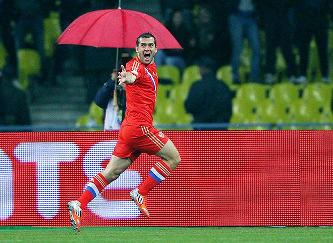 Россия — Португалия — 1:0. Александр Кержаков после гола в ворота португальцев
