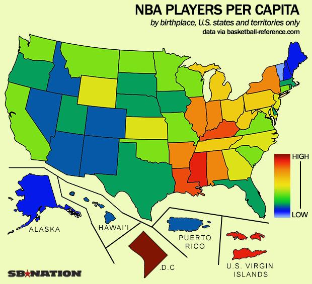 Тепловая карта мест рождения игроков по штатам