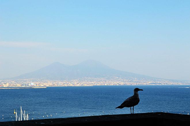 Вид на бухту Неаполя и тонущий в дымке Везувий
