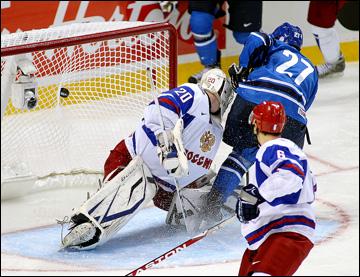 Дмитрий Шикин в воротах сборной России на МЧМ-2011