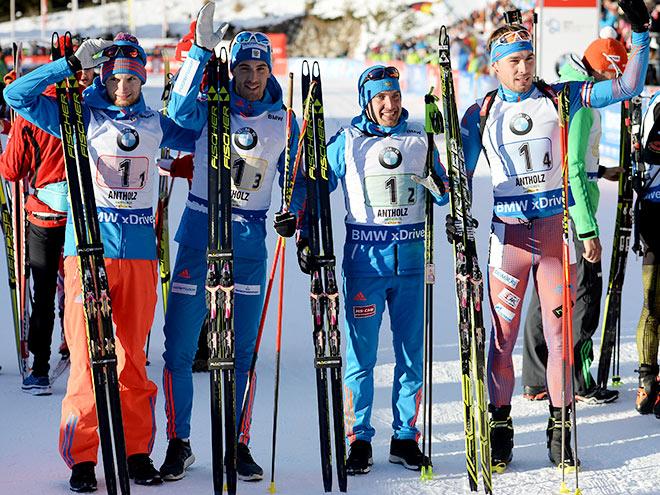 Сборная России выиграла эстафету на этапе КМ по биатлону. Фоторепортаж