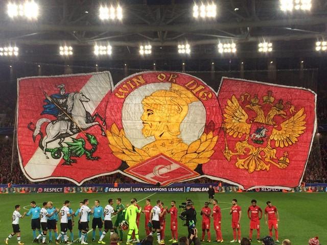 Болельщики «Спартака» представили масштабный перфоманс на матче с «Ливерпулем»