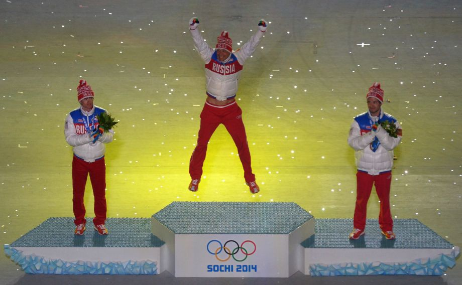 Призёры Олимпиады-2014 Легков, Вылегжанин и Черноусов