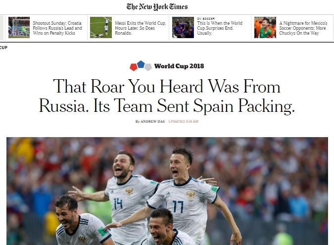 The New York Times: «Рёв, который вы услышали, донёсся из России. Их команда отправила испанцев паковать вещи».