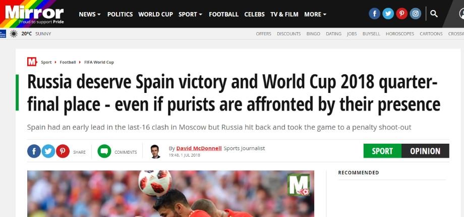 Mirror: «Россия заслужила победу над Испанией и выход в 1/4, даже если футбольные пуристы против».