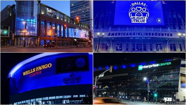Арены клубов в США зажглись голубыми цветами.