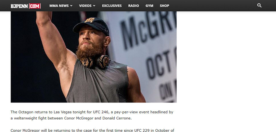 Конор Макрегор победил Дональда Серроне на UFC 246, обзор прессы