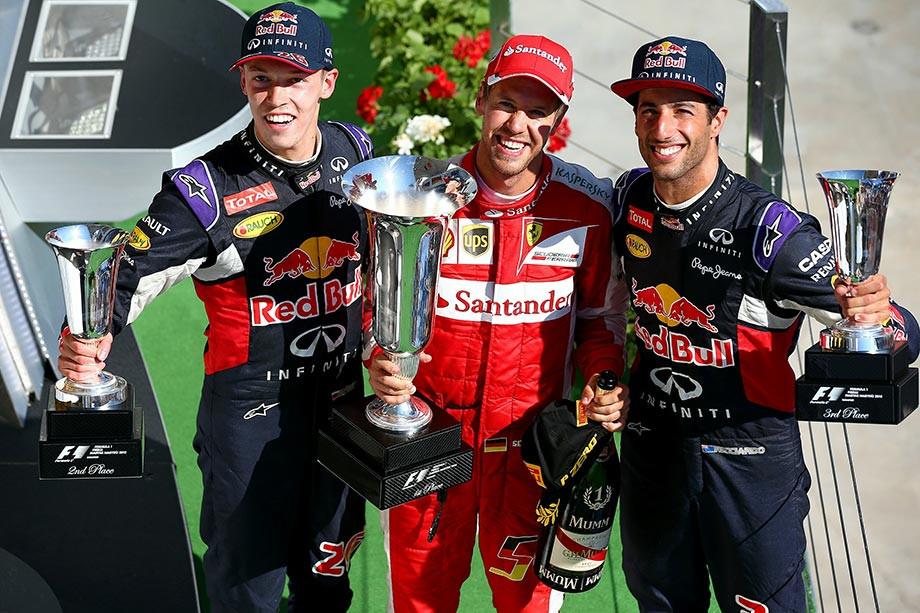 Квят, Феттель и Риккардо на подиуме Гран-при Венгрии-2015