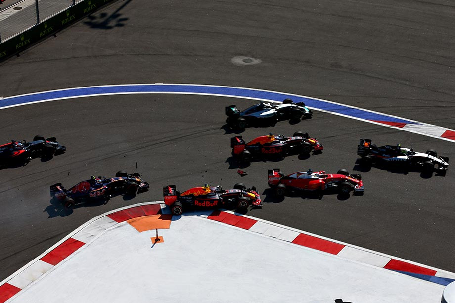 Столкновение Квята и Феттеля на Гран-при России-2016