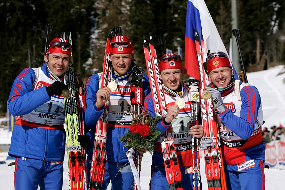 Идеальная победа золотой четвёрки российского биатлона в эстафете: Черезов, Чудов, Ярошенко, Круглов