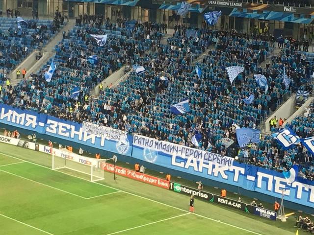 Баннер болельщиков «Зенита», посвящённый Ратко Младичу
