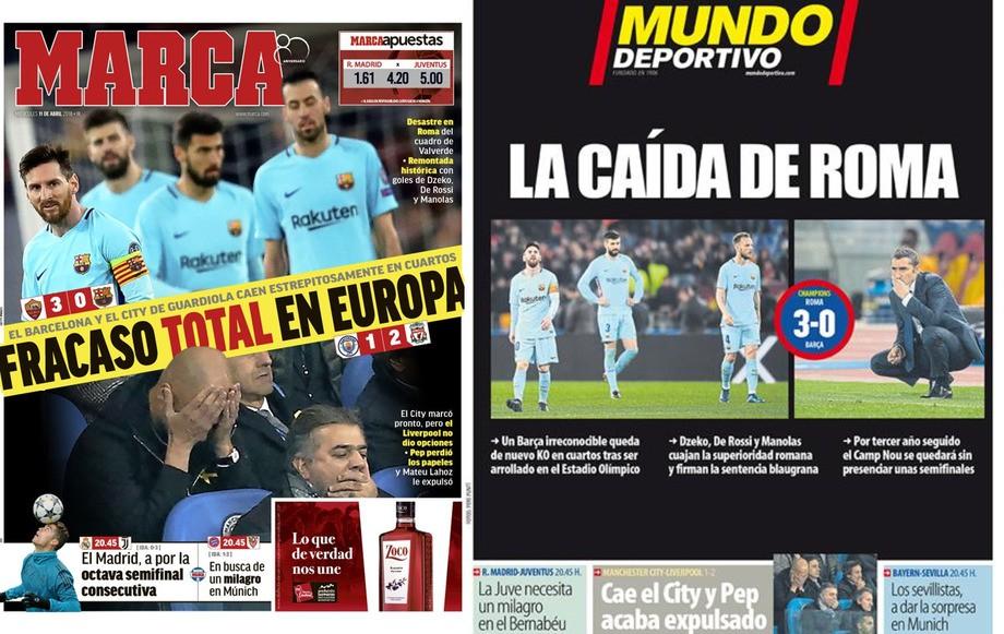 Marca: «Полный провал в Европе»; Mundo Deportivo: «Падение в Риме»