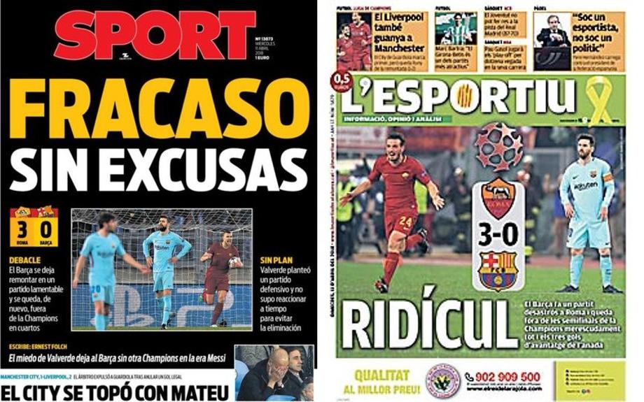 Sport: «Провал без оправданий»; L'Esportiu: «Позорище»