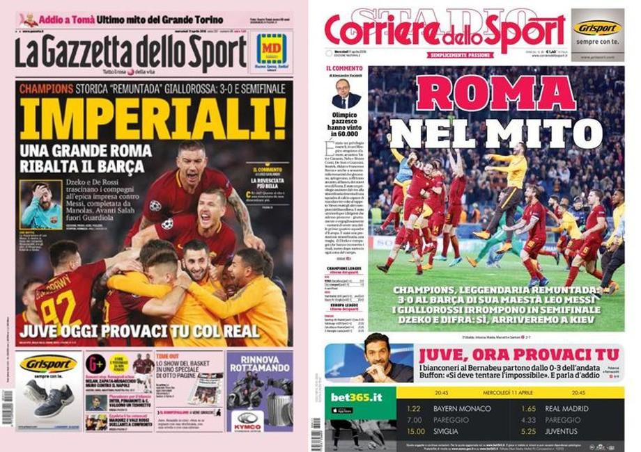La Gazzetta dello Sport: «Императорская победа»; Corriere dello Sport: «Мифический Рим»