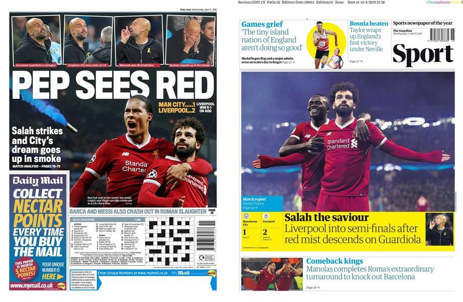 Daily Mail: «Гвардиола видит красный цвет»; The Guardian: «Салах-спаситель, на Гвардиолу спускается красный туман»