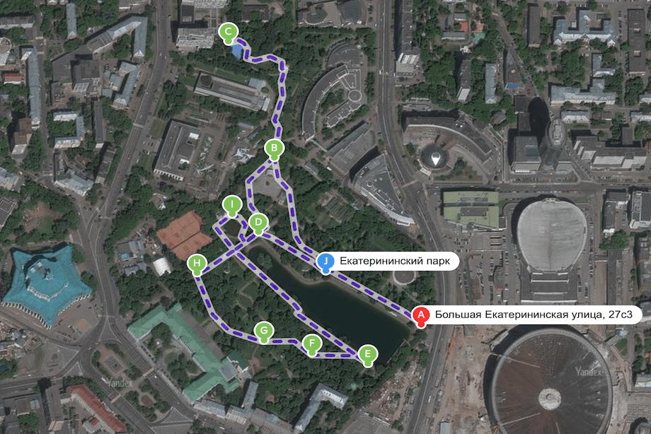 Маршрут пробежки по Екатерининскому парку.