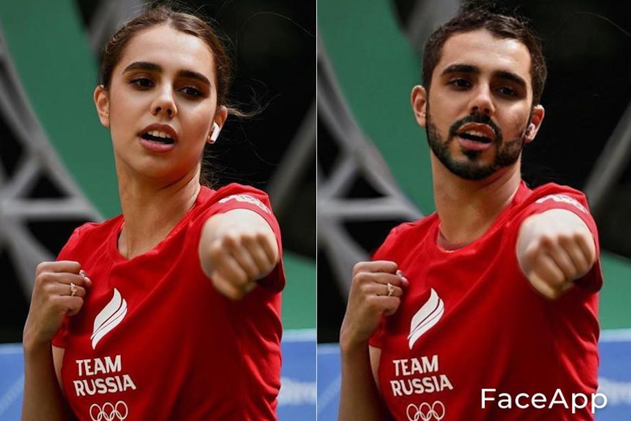 Как выглядели бы российские спортсменки, если бы были мужчинами? Приложение FaceApp