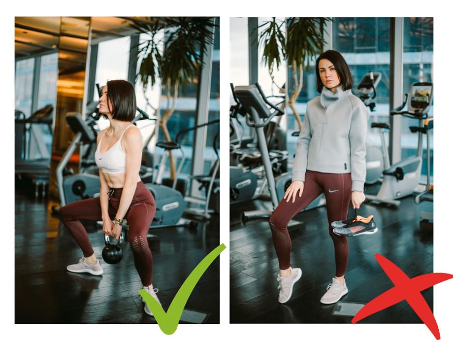 На Евгении: леггинсы и бра Nike, толстовка Reebok, кроссовки Nike Free TR Ultra, в руках — Fast Tempo Flexweave от Reebok.