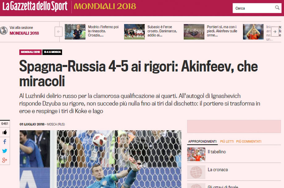 La Gazzetta dello Sport: Акинфеев, что за чудеса