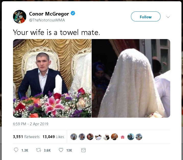 Конор Макгрегор назвал жену Хабиба Нурмагомедова полотенцем в «Твиттере»