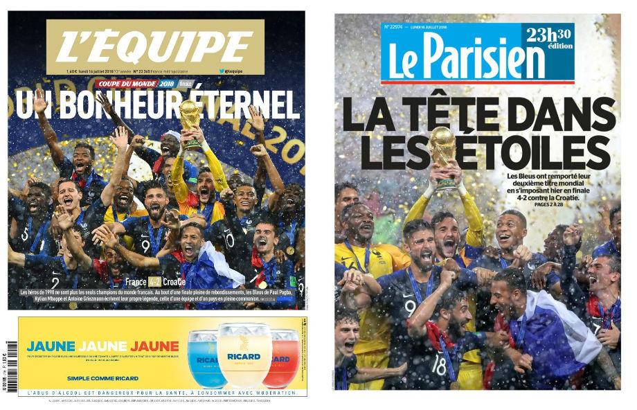 L'Equipe: «Вечное счастье»; Le Parisien: «Небо в алмазах»
