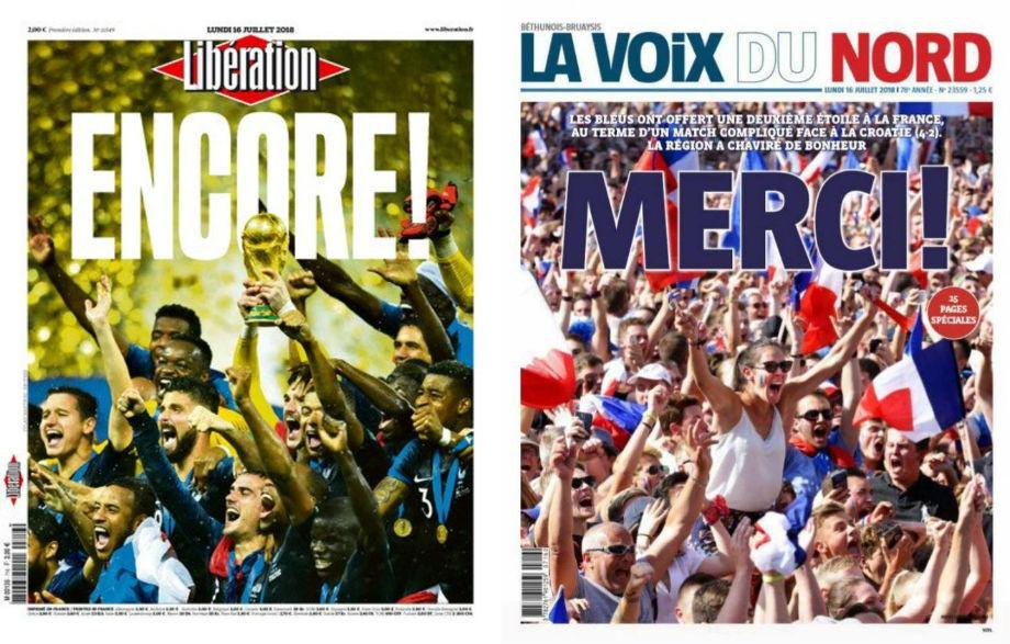 Liberation: «Снова!»; La voix du Nord: «Спасибо!»
