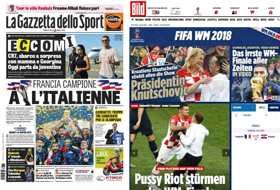 La Gazzetta dello Sport: «Франция – чемпион… по-итальянски»; Bild: «Худший финал ЧМ всех времён»