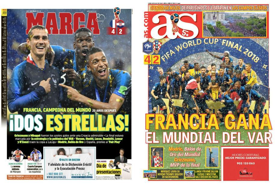 Marca: «Две звезды»; AS: «Франция выиграла чемпионат VAR»