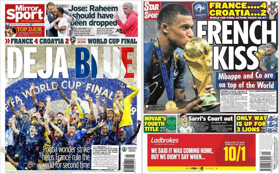 The Mirror: «Дежа Блю»; Daily Star: «Французский поцелуй»