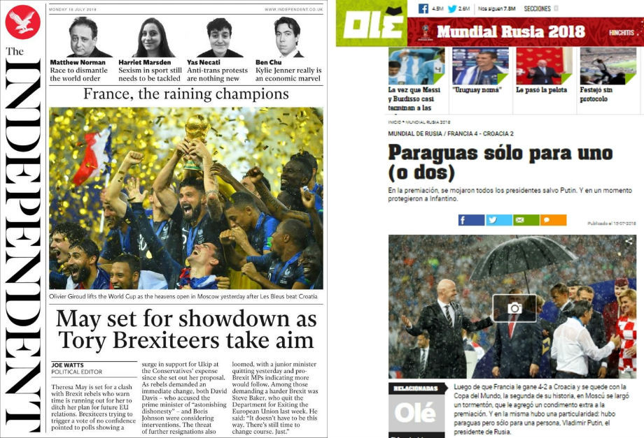 The Independent: «Чемпионы под дождём»; Ole: «Зонтик только для одного (или двоих)»