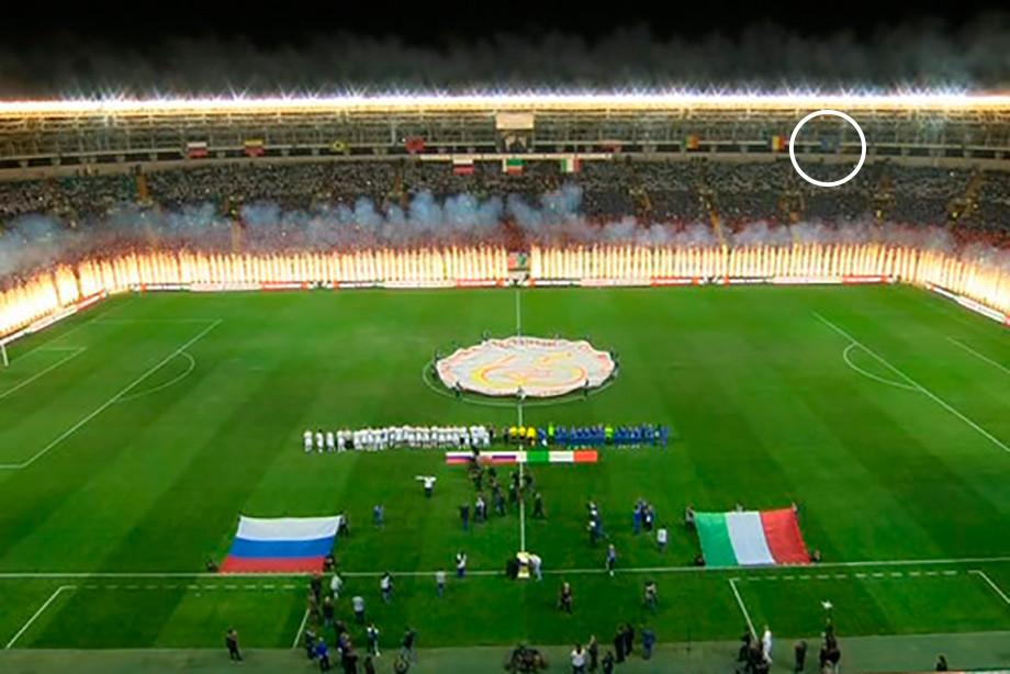 На стадионе в Грозном снимают флаги. Коротко объясняем, как это вышло