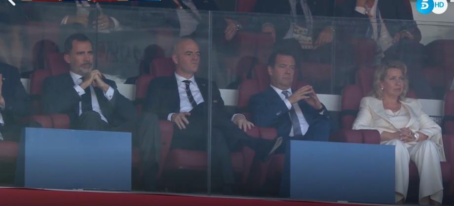 Картинки по запросу Медведев на матче Россия Испания