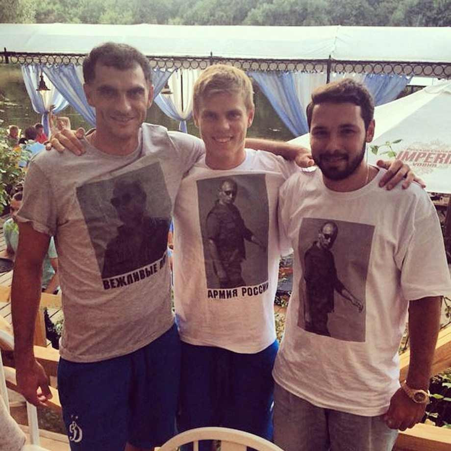 Александр Кокорин в футболке с изображением Владимира Путина