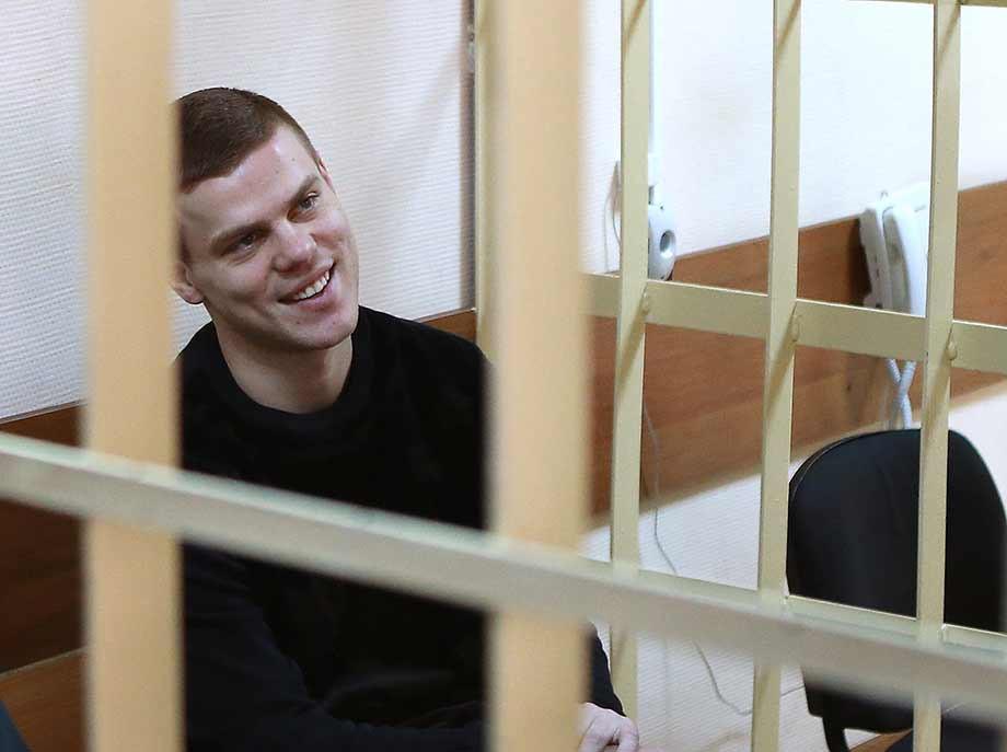 Александр Кокорин на скамье подсудимых