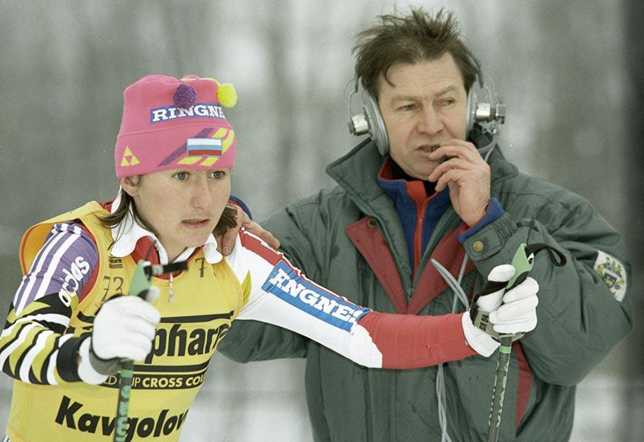 Елена Вяльбе перед стартом гонки