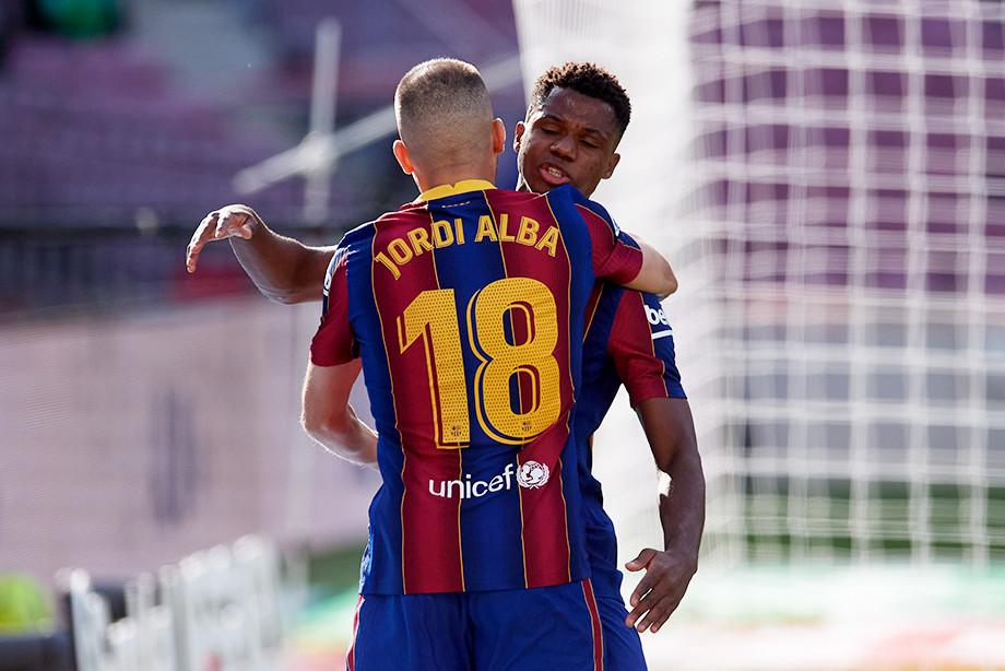 Хорди Альба и Ансу Фати забивают единственный гол Барселоны в Класико